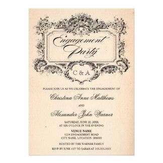 Vintage Ornament Engagement Party Invites