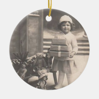 Vintage Ornament-girl with presents