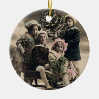 Vintage Ornament-vintage children with sled