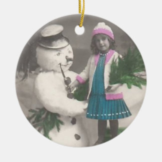 Vintage Ornament-vintage girl with snowman