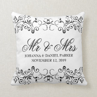 Vintage Ornamental Flourish Decor Mr & Mrs Wedding Cushion