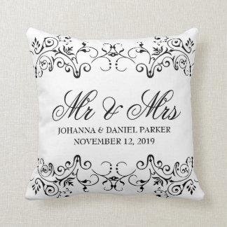 Vintage Ornamental Flourish Decor Mr & Mrs Wedding Throw Pillow