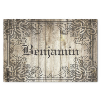 Vintage Ornate Border Dark Wood Personalized Name Tissue Paper