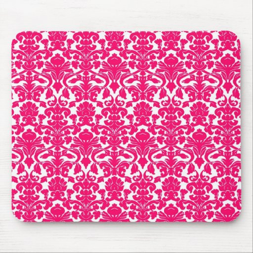 Vintage Ornate Floral Hot Pink Damask Mousepad