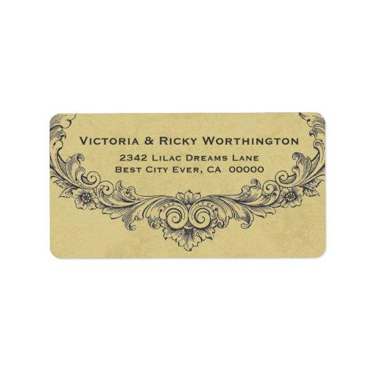 Vintage Ornate Frame Gold Background Wedding Paper Address Label