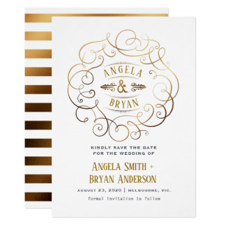 Vintage ornate gold save the date card