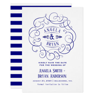 Vintage ornate navy blue save the date card