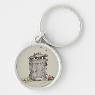 Vintage Oscar in Trash Can Silver-Colored Round Key Ring
