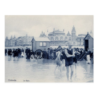 Vintage Ostend Bathing Scene, casino in the back Postcard