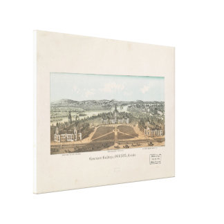 Vintage Ottawa Government Buildings Map (1865) Canvas Print
