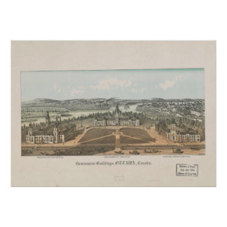Vintage Ottawa Government Buildings Map (1865) Poster
