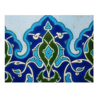Vintage Ottoaman blue and white tile Postcard