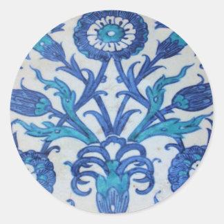 Vintage Ottoman Tile FLORAL DESIGN Classic Round Sticker