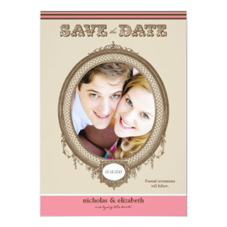 """Vintage Oval Frame Save-the-Date (chocolate/pink) 5"""" X 7"""" Invitation Card"""
