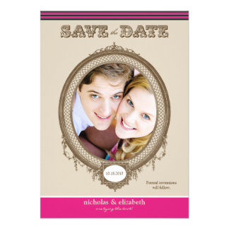 Vintage Oval Frame Save-the-Date fuchsia Announcements