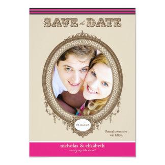 "Vintage Oval Frame Save-the-Date (fuchsia) 5"" X 7"" Invitation Card"