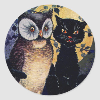 Vintage Owl and Cat Halloween Greeting Round Sticker