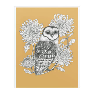 vintage owl and chrysanthemum ink illustration acrylic wall art