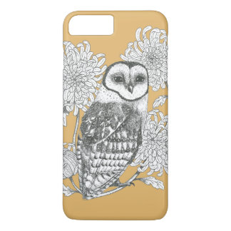 vintage owl and chrysanthemum phone case