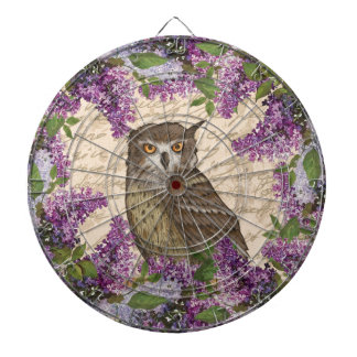 Vintage owl and lilac dartboard with darts