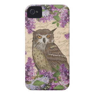 Vintage owl and lilac iPhone 4 case