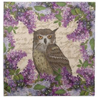 Vintage owl and lilac napkin