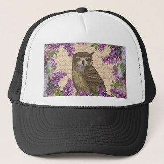 Vintage owl and lilac trucker hat