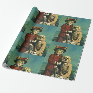 Vintage Owl And Pussy Cat Wrapping Paper