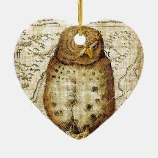 Vintage owl ceramic heart decoration