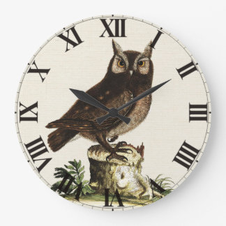 Vintage Owl Drawing Clock
