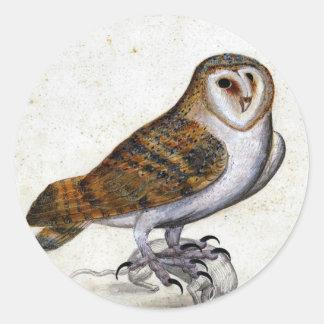 Vintage Owl Illustration Round Sticker