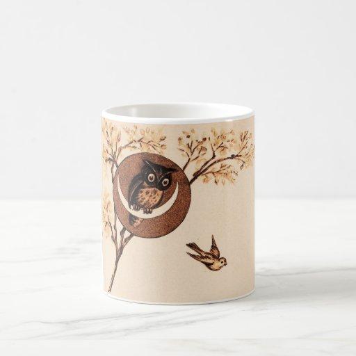 Vintage Owl in Moon Basic White Mug