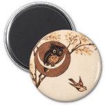 Vintage Owl in Moon Fridge Magnet