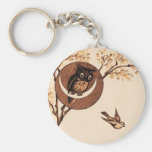 Vintage Owl in Moon Keychains