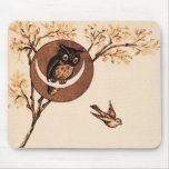 Vintage Owl in Moon Mouse Pad