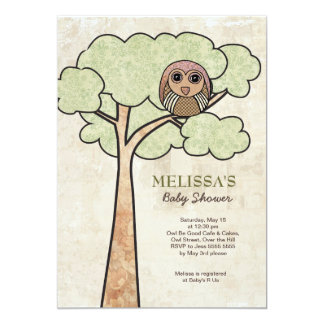 Vintage Owl in Tree Baby Shower Party Invite` Card