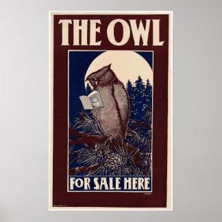 Vintage Owl Magazine Cover Poster