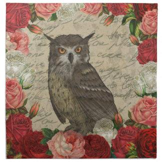 Vintage owl napkin