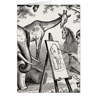 Vintage Owl Painting Elephant 1800s Jungle Scene Card