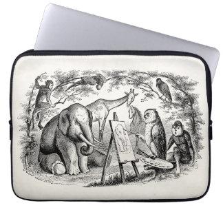 Vintage Owl Painting Elephant 1800s Jungle Scene Laptop Sleeve