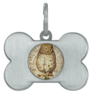 Vintage owl pet tag