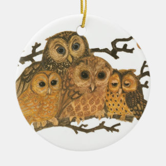 Vintage Owl Print Ornament