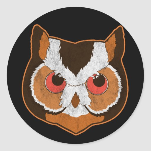 Vintage Owl Round Stickers