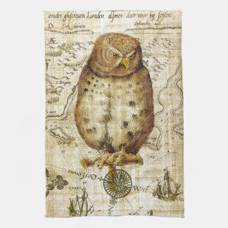 Vintage owl tea towel