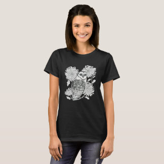 vintage owl with flowers t-shirt