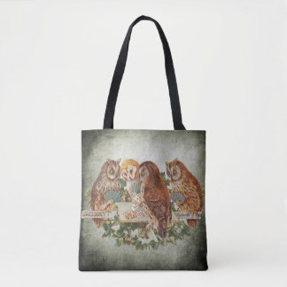 Vintage Owls Playing Poker Tote Bag