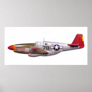 Vintage P-51 Mustang Tuskegee Airmen World War II Poster