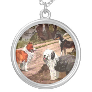 Vintage Painted Collies Necklace