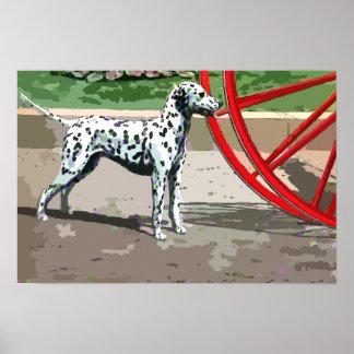 Vintage Painted Dalmatian Canvas Print