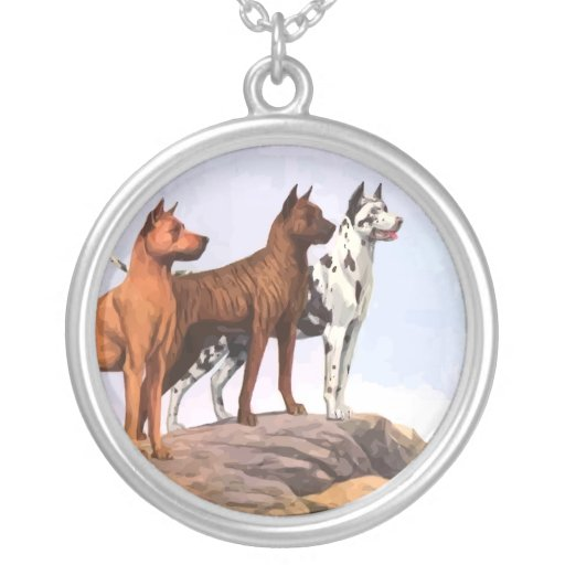 Vintage Painted Great Danes Necklace